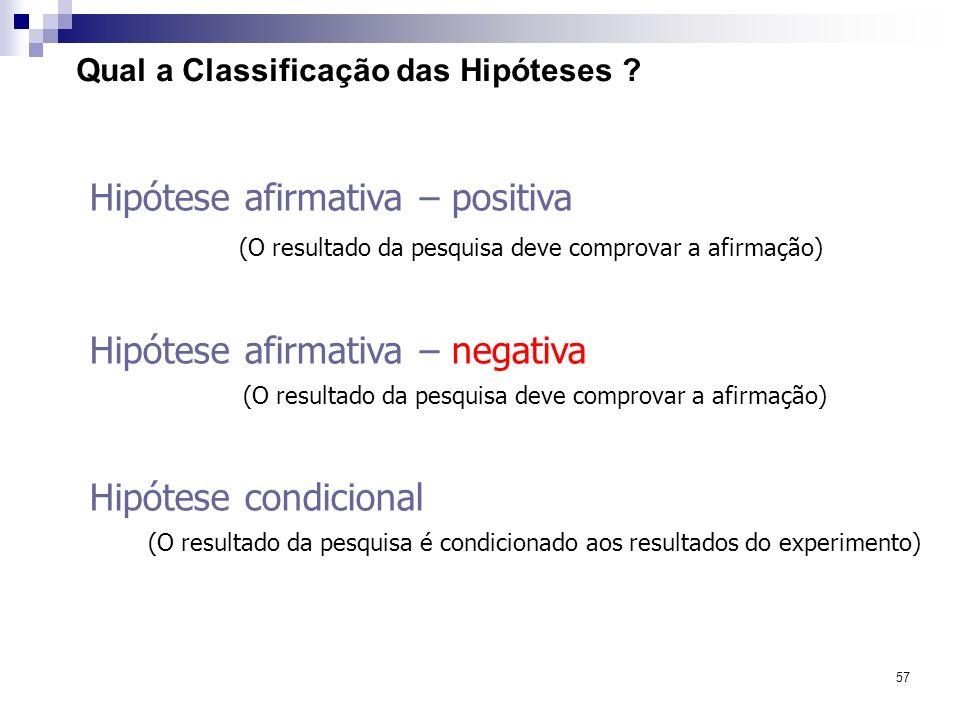 57 Qual a Classificação das Hipóteses ? Hipótese afirmativa – positiva (O resultado da pesquisa deve comprovar a afirmação) Hipótese afirmativa – nega