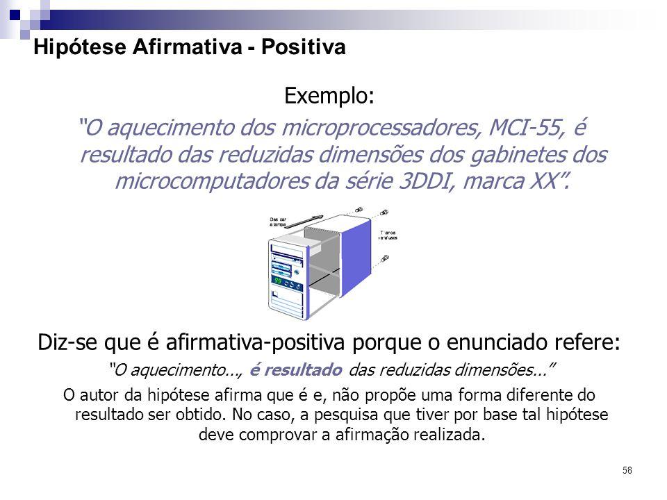 58 Hipótese Afirmativa - Positiva Exemplo: O aquecimento dos microprocessadores, MCI-55, é resultado das reduzidas dimensões dos gabinetes dos microco
