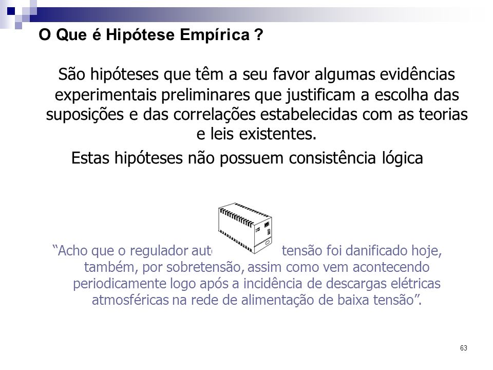 63 O Que é Hipótese Empírica ? São hipóteses que têm a seu favor algumas evidências experimentais preliminares que justificam a escolha das suposições