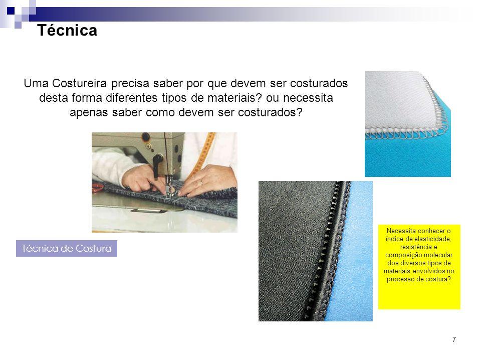 7 Técnica Técnica de Costura Uma Costureira precisa saber por que devem ser costurados desta forma diferentes tipos de materiais? ou necessita apenas