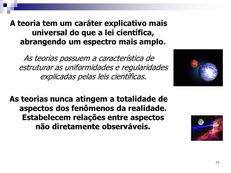 71 A teoria tem um caráter explicativo mais universal do que a lei científica, abrangendo um espectro mais amplo. As teorias possuem a característica
