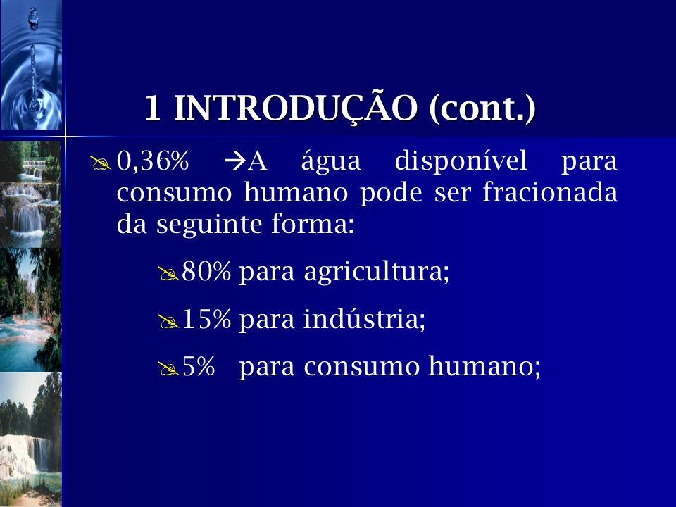 1 INTRODUÇÃO (cont.) 0,36% A água disponível para consumo humano pode ser fracionada da seguinte forma: 80% para agricultura; 15% para indústria; 5% p