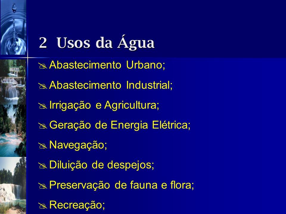 Abastecimento Urbano; Abastecimento Industrial; Irrigação e Agricultura; Geração de Energia Elétrica; Navegação; Diluição de despejos; Preservação de