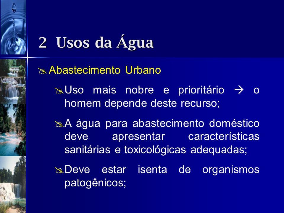 Abastecimento Urbano Uso mais nobre e prioritário o homem depende deste recurso; A água para abastecimento doméstico deve apresentar características s