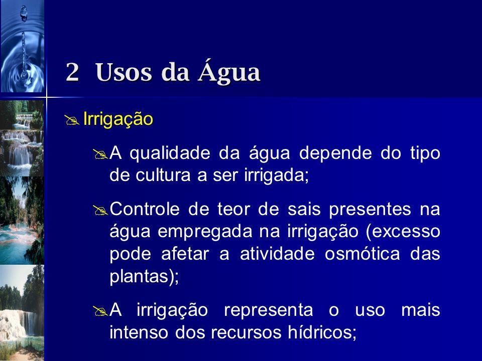 Irrigação A qualidade da água depende do tipo de cultura a ser irrigada; Controle de teor de sais presentes na água empregada na irrigação (excesso po