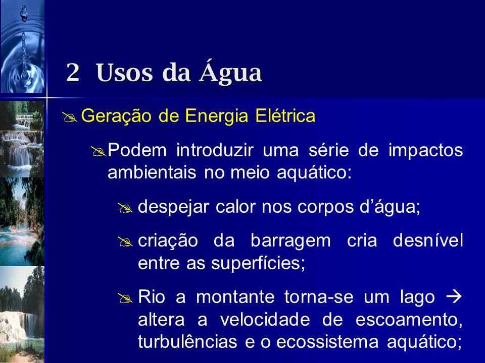 Geração de Energia Elétrica Podem introduzir uma série de impactos ambientais no meio aquático: despejar calor nos corpos dágua; criação da barragem c