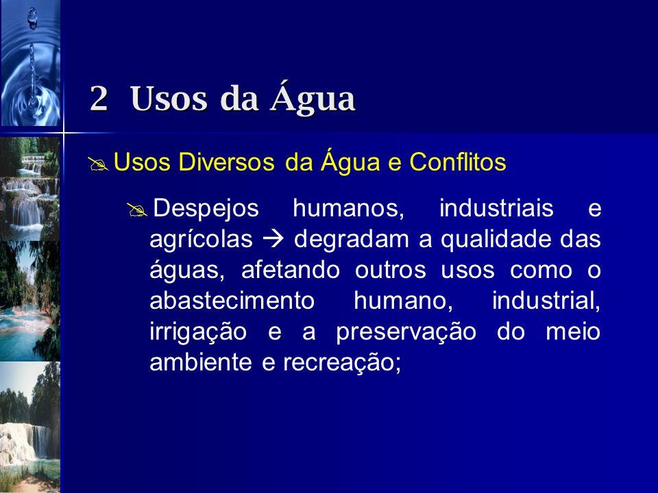 Usos Diversos da Água e Conflitos Despejos humanos, industriais e agrícolas degradam a qualidade das águas, afetando outros usos como o abastecimento