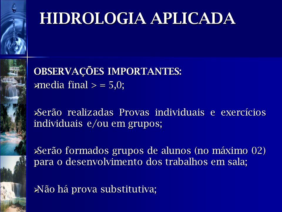 HIDROLOGIA APLICADA OBSERVAÇÕES IMPORTANTES: media final > = 5,0; media final > = 5,0; Serão realizadas Provas individuais e exercícios individuais e/