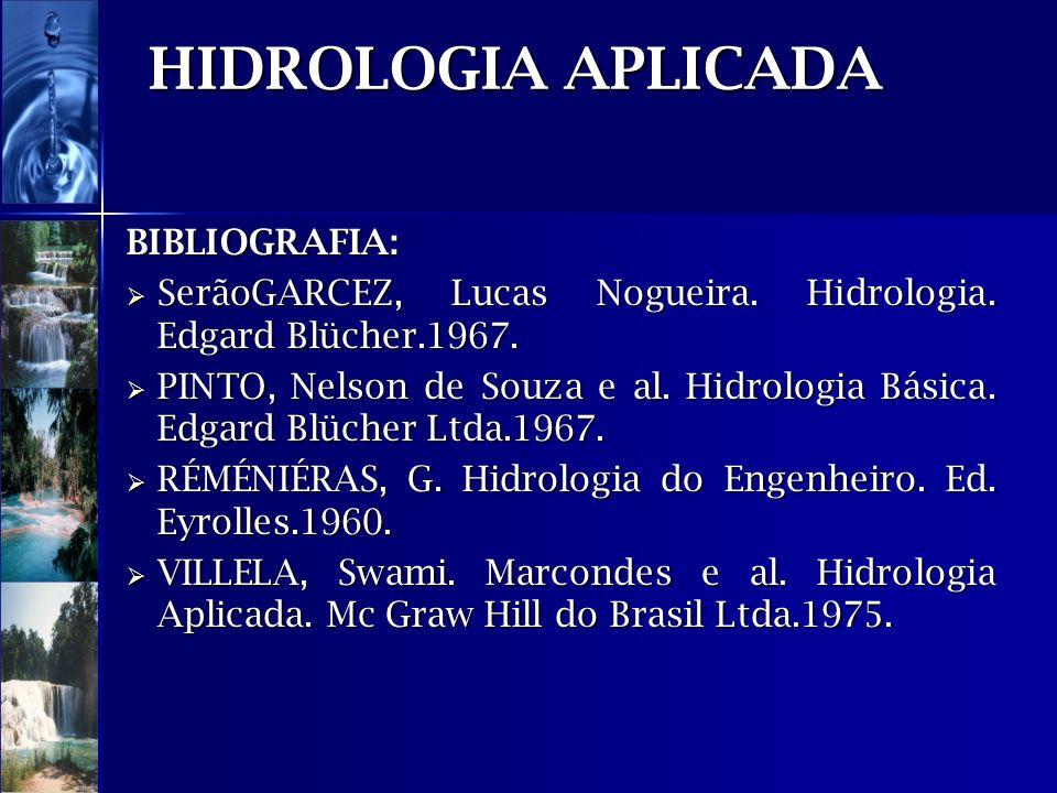 HIDROLOGIA APLICADA BIBLIOGRAFIA: SerãoGARCEZ, Lucas Nogueira. Hidrologia. Edgard Blücher.1967. SerãoGARCEZ, Lucas Nogueira. Hidrologia. Edgard Blüche