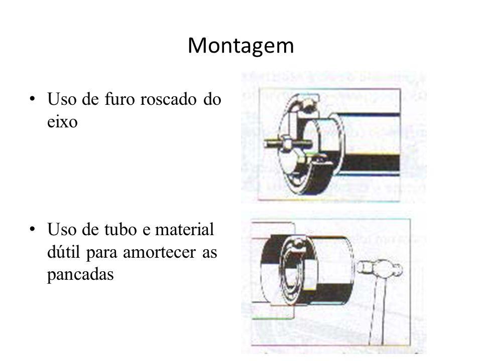 Montagem Uso de furo roscado do eixo Uso de tubo e material dútil para amortecer as pancadas
