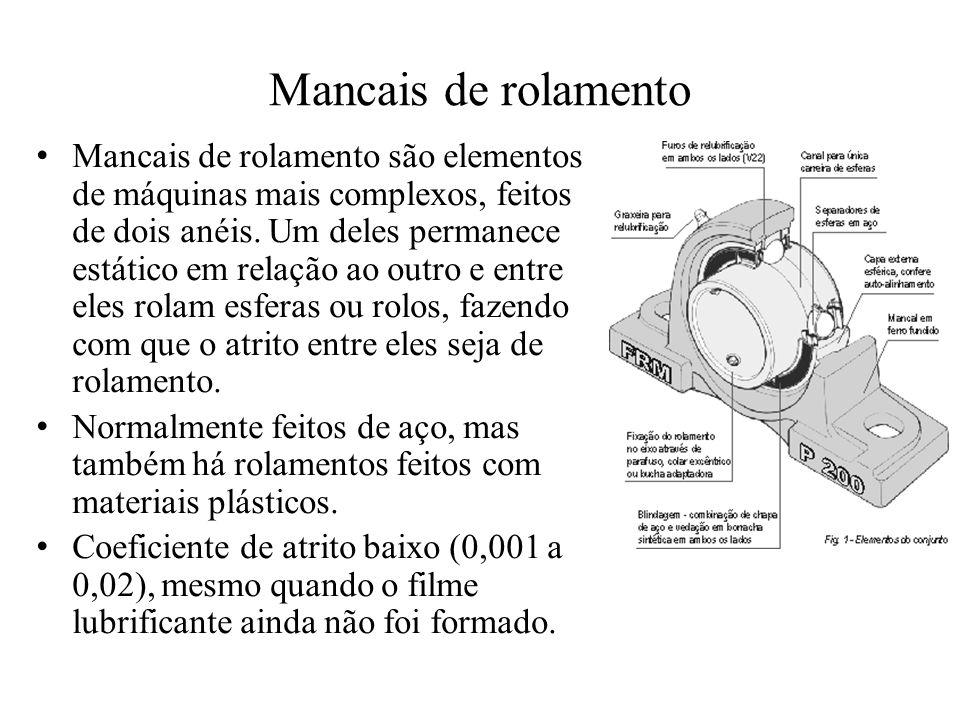 Mancais de rolamento Mancais de rolamento são elementos de máquinas mais complexos, feitos de dois anéis. Um deles permanece estático em relação ao ou