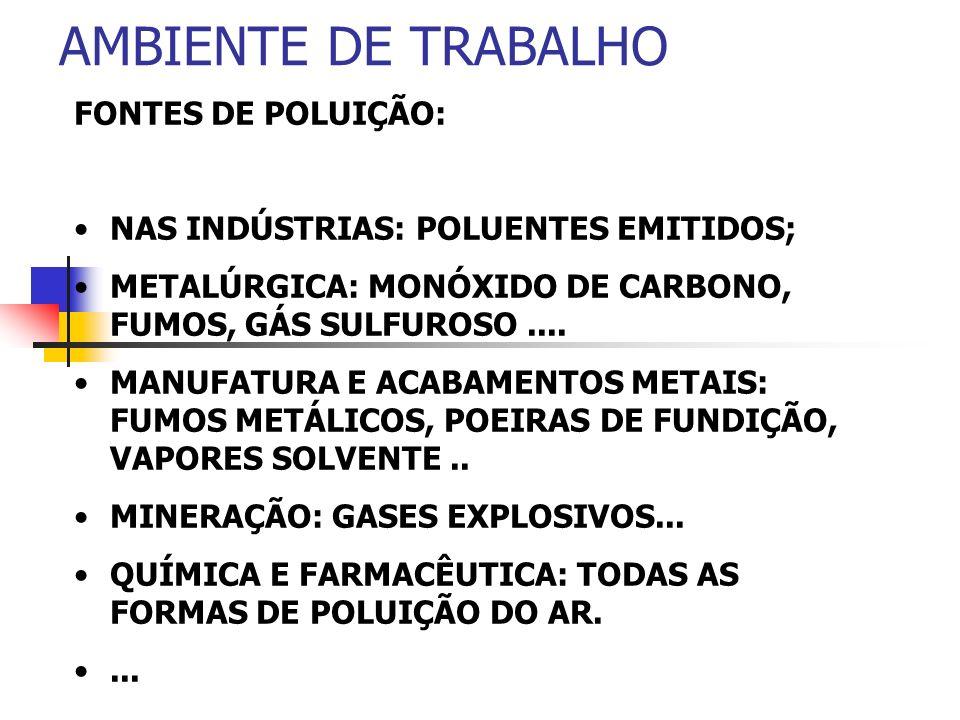 AMBIENTE DE TRABALHO FONTES DE POLUIÇÃO: NAS INDÚSTRIAS: POLUENTES EMITIDOS; METALÚRGICA: MONÓXIDO DE CARBONO, FUMOS, GÁS SULFUROSO.... MANUFATURA E A