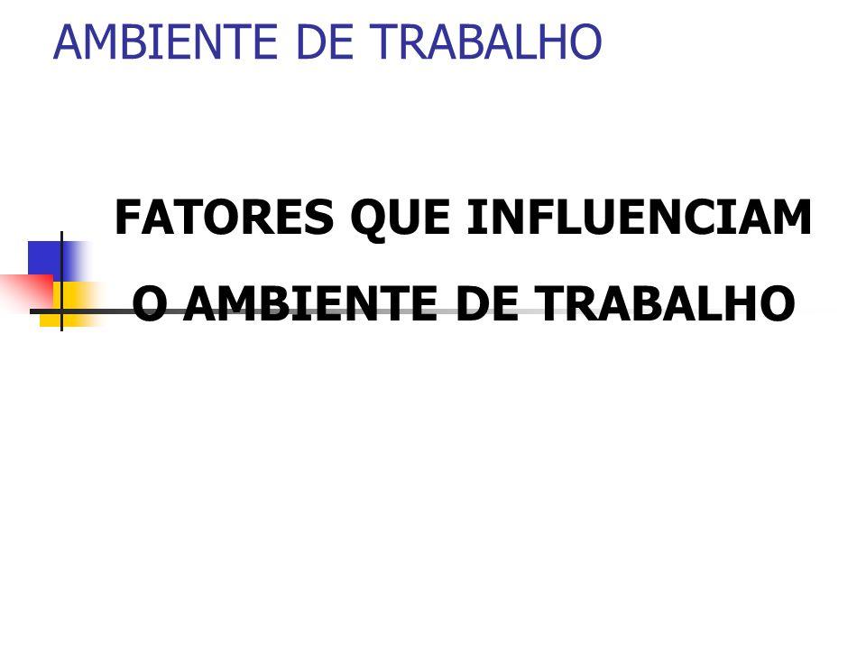 AMBIENTE DE TRABALHO FATORES QUE INFLUENCIAM O AMBIENTE DE TRABALHO