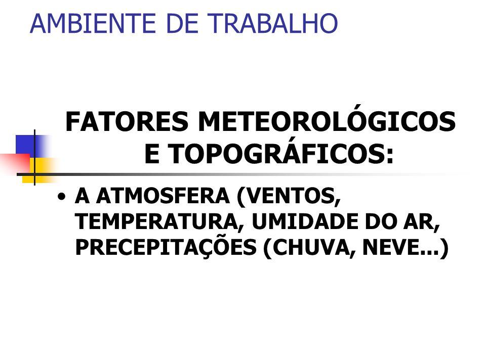 AMBIENTE DE TRABALHO FATORES METEOROLÓGICOS E TOPOGRÁFICOS: A ATMOSFERA (VENTOS, TEMPERATURA, UMIDADE DO AR, PRECEPITAÇÕES (CHUVA, NEVE...)