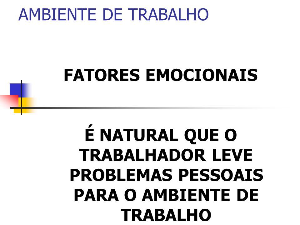 AMBIENTE DE TRABALHO FATORES EMOCIONAIS É NATURAL QUE O TRABALHADOR LEVE PROBLEMAS PESSOAIS PARA O AMBIENTE DE TRABALHO