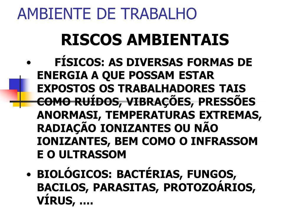 AMBIENTE DE TRABALHO RISCOS AMBIENTAIS FÍSICOS: AS DIVERSAS FORMAS DE ENERGIA A QUE POSSAM ESTAR EXPOSTOS OS TRABALHADORES TAIS COMO RUÍDOS, VIBRAÇÕES