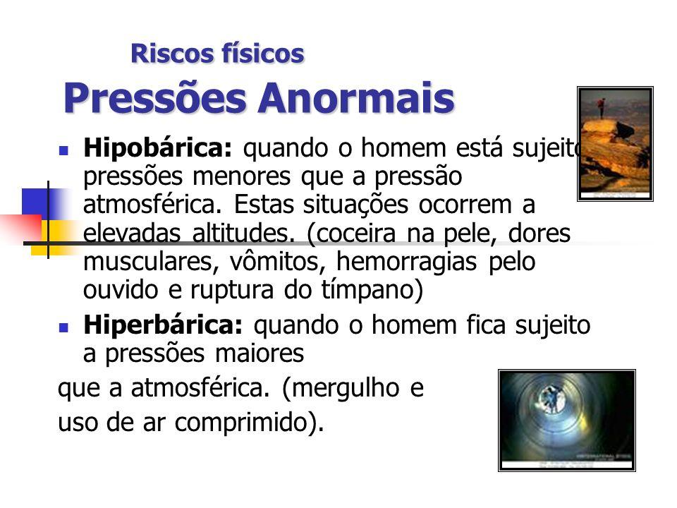 Riscos físicos Pressões Anormais Hipobárica: quando o homem está sujeito a pressões menores que a pressão atmosférica. Estas situações ocorrem a eleva