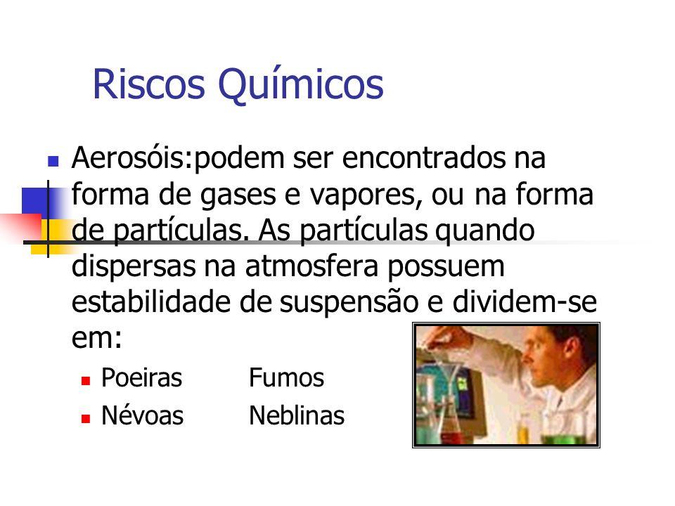Riscos Químicos Aerosóis:podem ser encontrados na forma de gases e vapores, ou na forma de partículas. As partículas quando dispersas na atmosfera pos