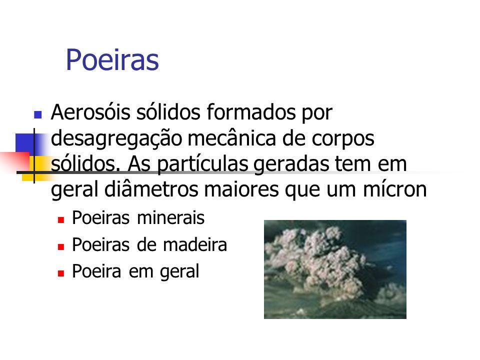 Poeiras Aerosóis sólidos formados por desagregação mecânica de corpos sólidos. As partículas geradas tem em geral diâmetros maiores que um mícron Poei