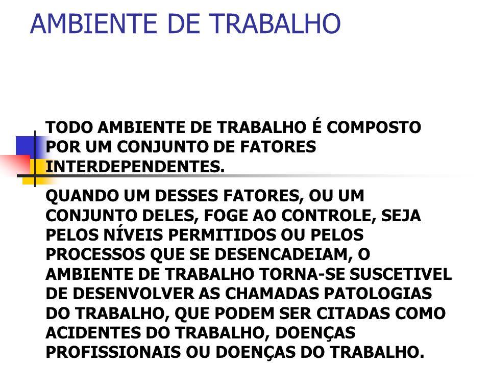 AMBIENTE DE TRABALHO TODO AMBIENTE DE TRABALHO É COMPOSTO POR UM CONJUNTO DE FATORES INTERDEPENDENTES. QUANDO UM DESSES FATORES, OU UM CONJUNTO DELES,