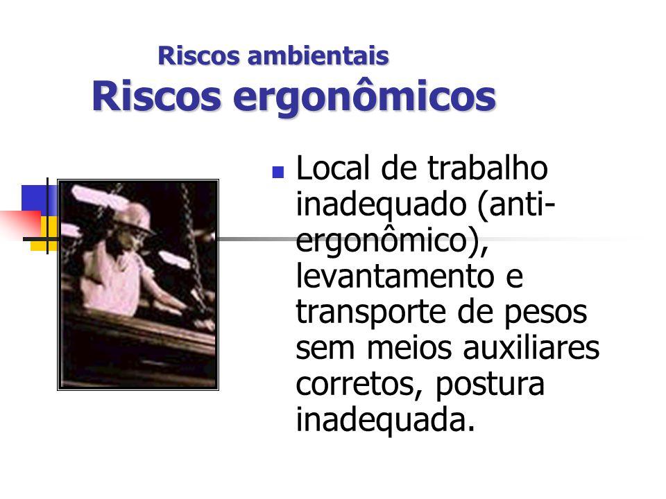 Riscos ambientais Riscos ergonômicos Local de trabalho inadequado (anti- ergonômico), levantamento e transporte de pesos sem meios auxiliares corretos