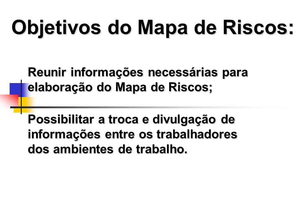 Objetivos do Mapa de Riscos: Reunir informações necessárias para elaboração do Mapa de Riscos; Possibilitar a troca e divulgação de informações entre