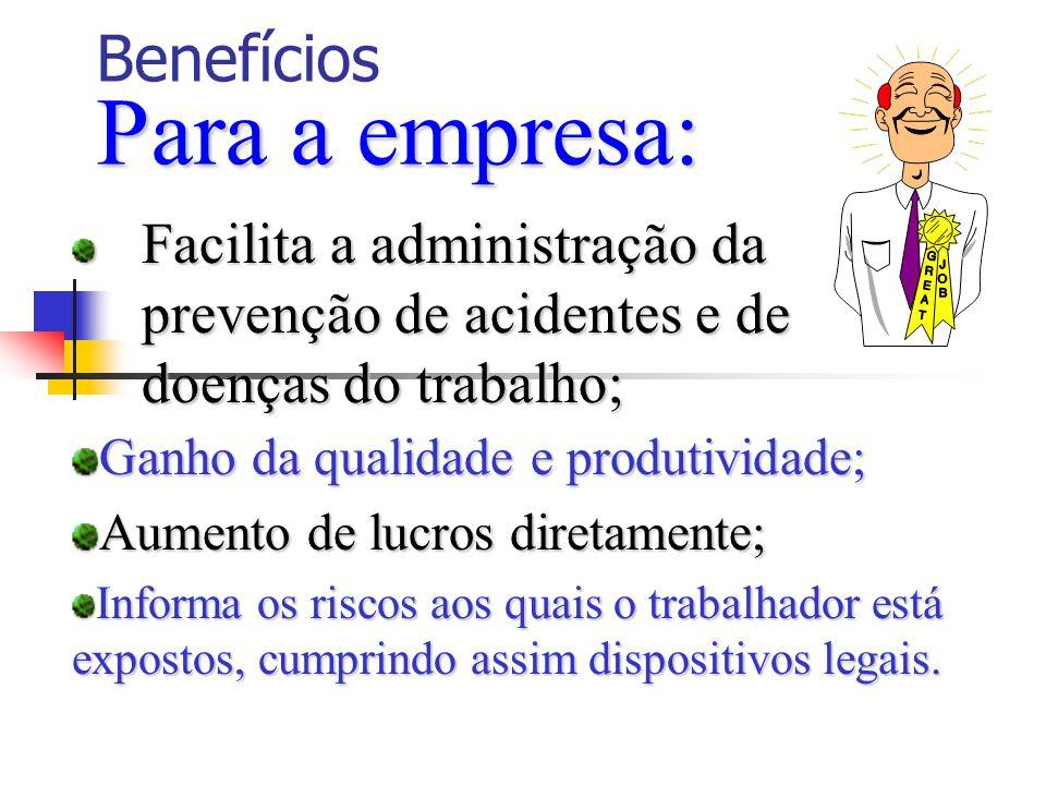 Para a empresa: Benefícios Para a empresa: Facilita a administração da prevenção de acidentes e de doenças do trabalho; Ganho da qualidade e produtivi