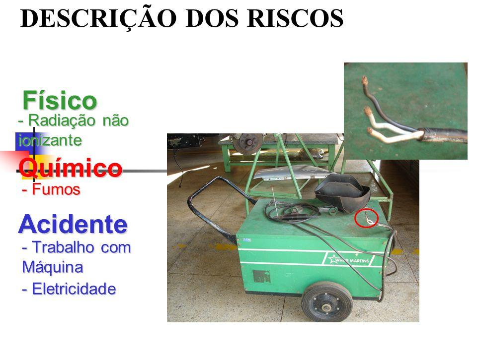 DESCRIÇÃO DOS RISCOS Físico - Radiação não ionizante Químico - Fumos Acidente - Trabalho com Máquina - Eletricidade