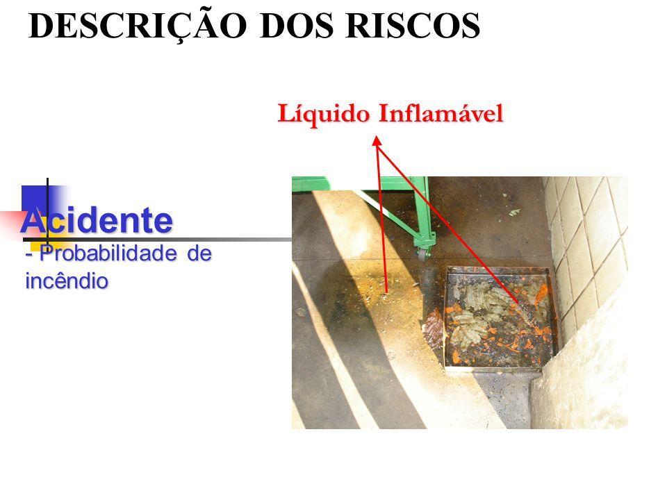 DESCRIÇÃO DOS RISCOS Acidente - Probabilidade de incêndio Líquido Inflamável