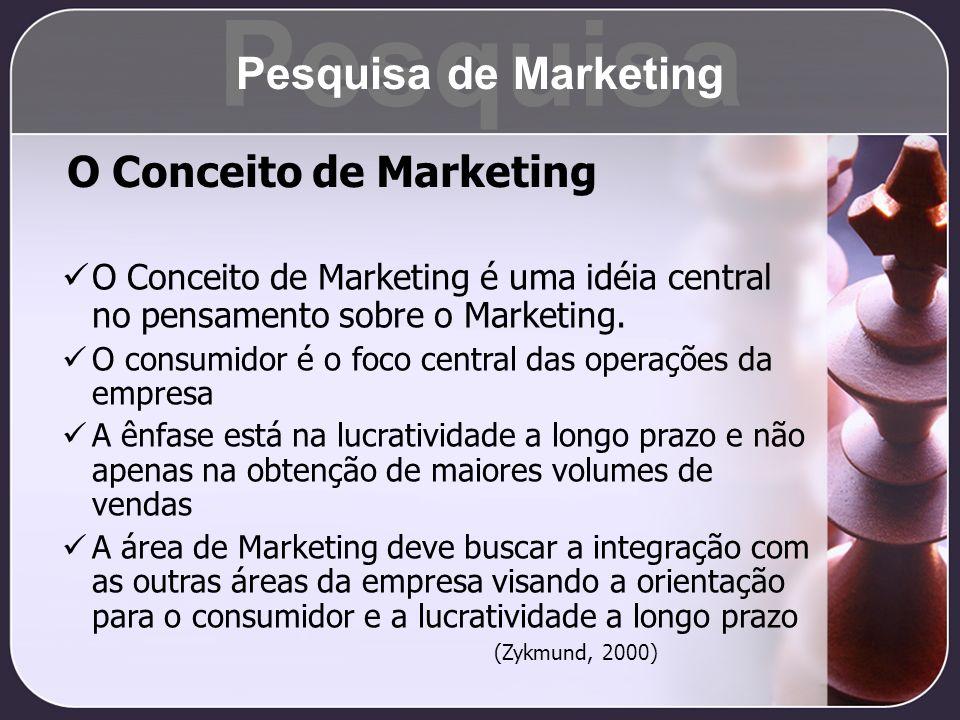 O Conceito de Marketing é uma idéia central no pensamento sobre o Marketing. O consumidor é o foco central das operações da empresa A ênfase está na l