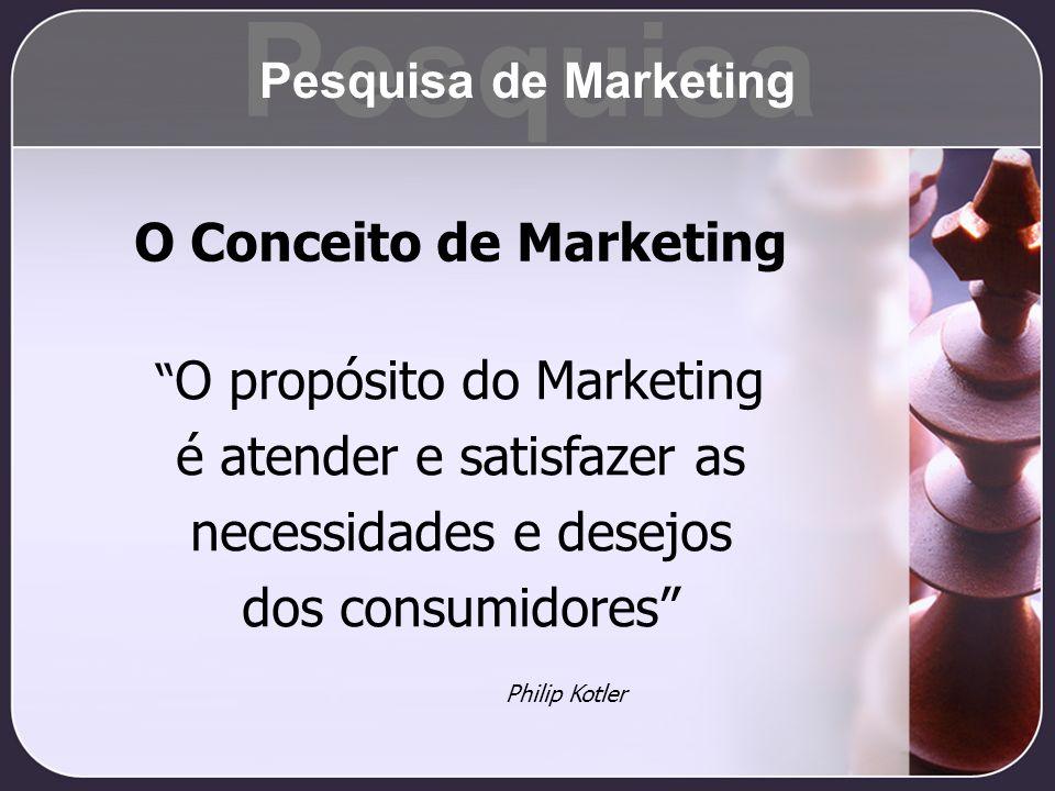 O Conceito de Marketing O propósito do Marketing é atender e satisfazer as necessidades e desejos dos consumidores Philip Kotler Pesquisa Pesquisa de