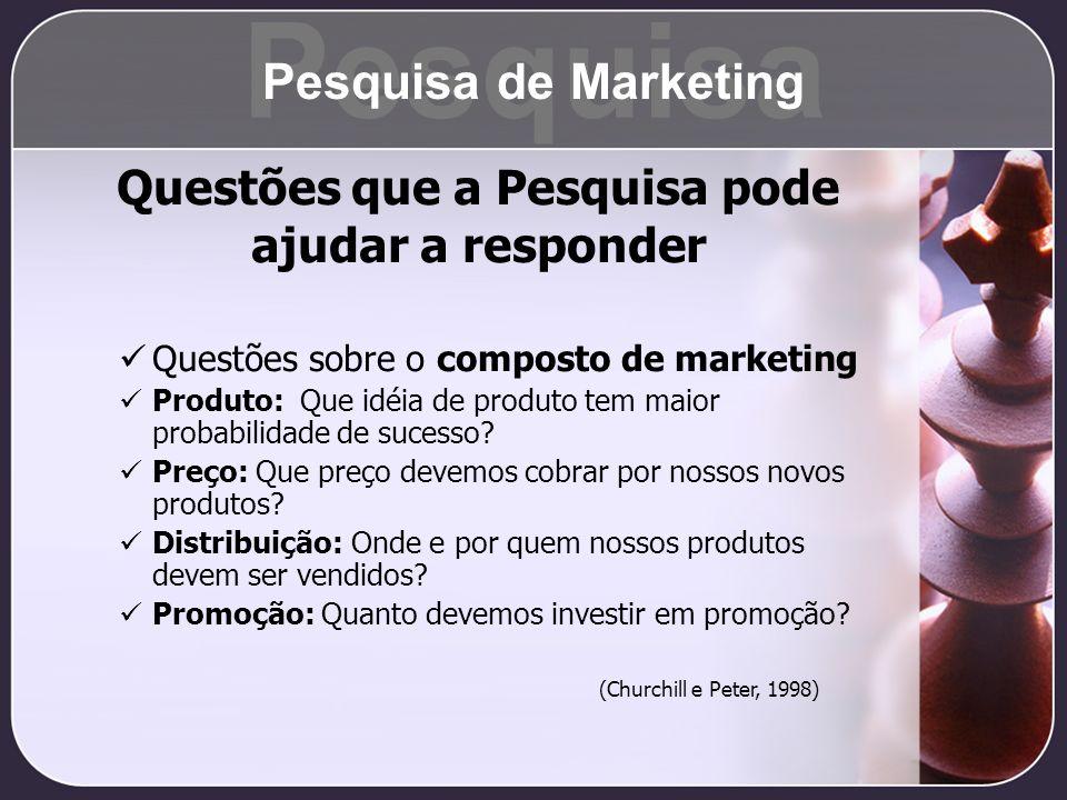 Questões sobre o composto de marketing Produto: Que idéia de produto tem maior probabilidade de sucesso? Preço: Que preço devemos cobrar por nossos no
