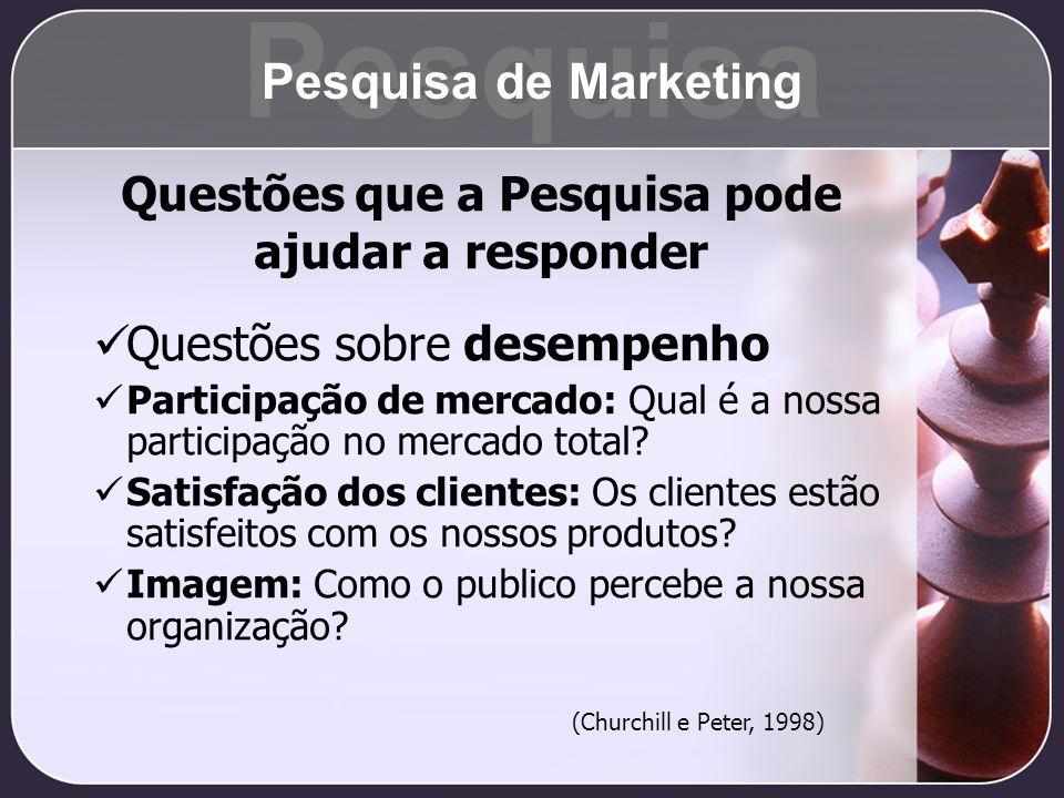 Questões sobre desempenho Participação de mercado: Qual é a nossa participação no mercado total? Satisfação dos clientes: Os clientes estão satisfeito