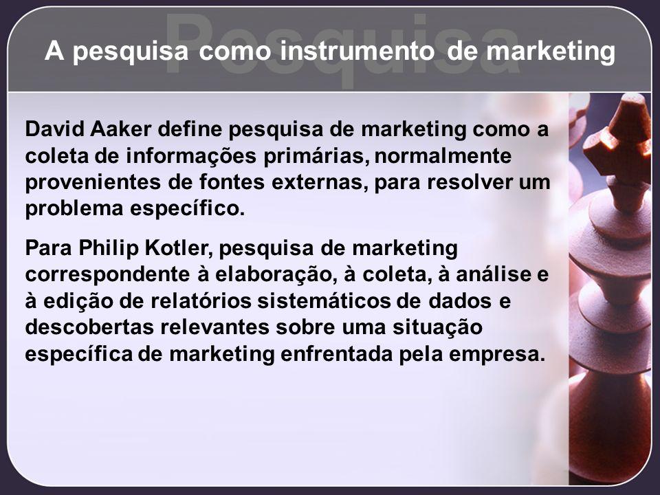 Pesquisa A pesquisa como instrumento de marketing David Aaker define pesquisa de marketing como a coleta de informações primárias, normalmente proveni