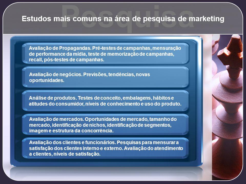 Pesquisa Estudos mais comuns na área de pesquisa de marketing Avaliação de Propagandas. Pré-testes de campanhas, mensuração de performance da mídia, t