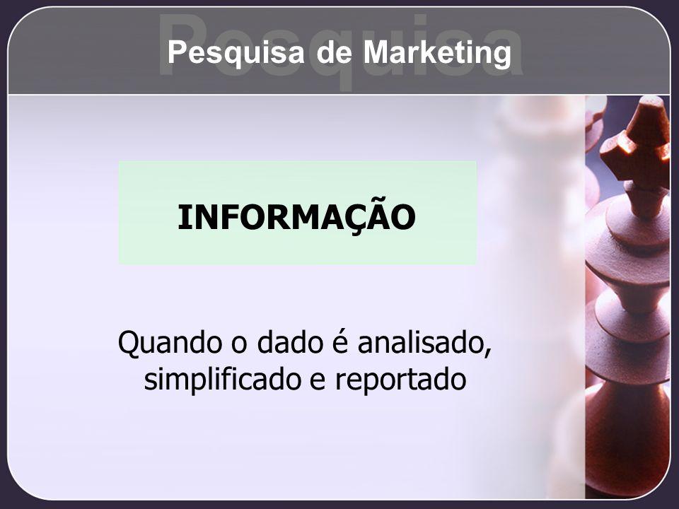 INFORMAÇÃO Quando o dado é analisado, simplificado e reportado Pesquisa Pesquisa de Marketing