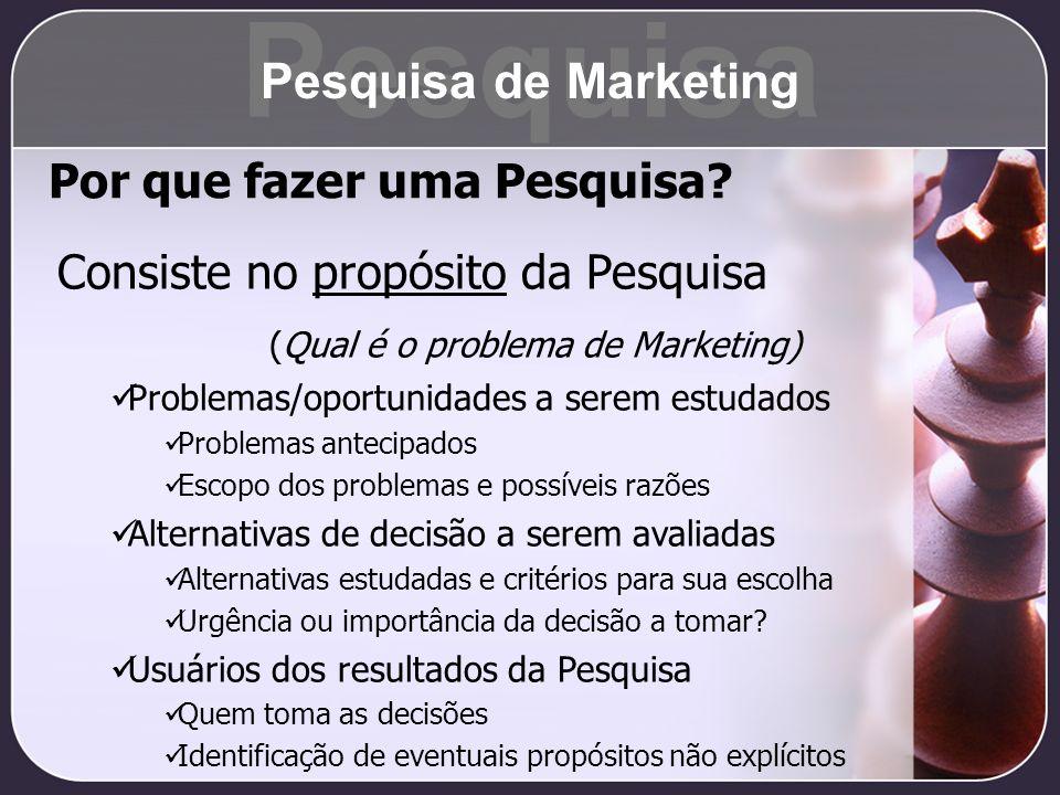 Por que fazer uma Pesquisa? Consiste no propósito da Pesquisa (Qual é o problema de Marketing) Problemas/oportunidades a serem estudados Problemas ant