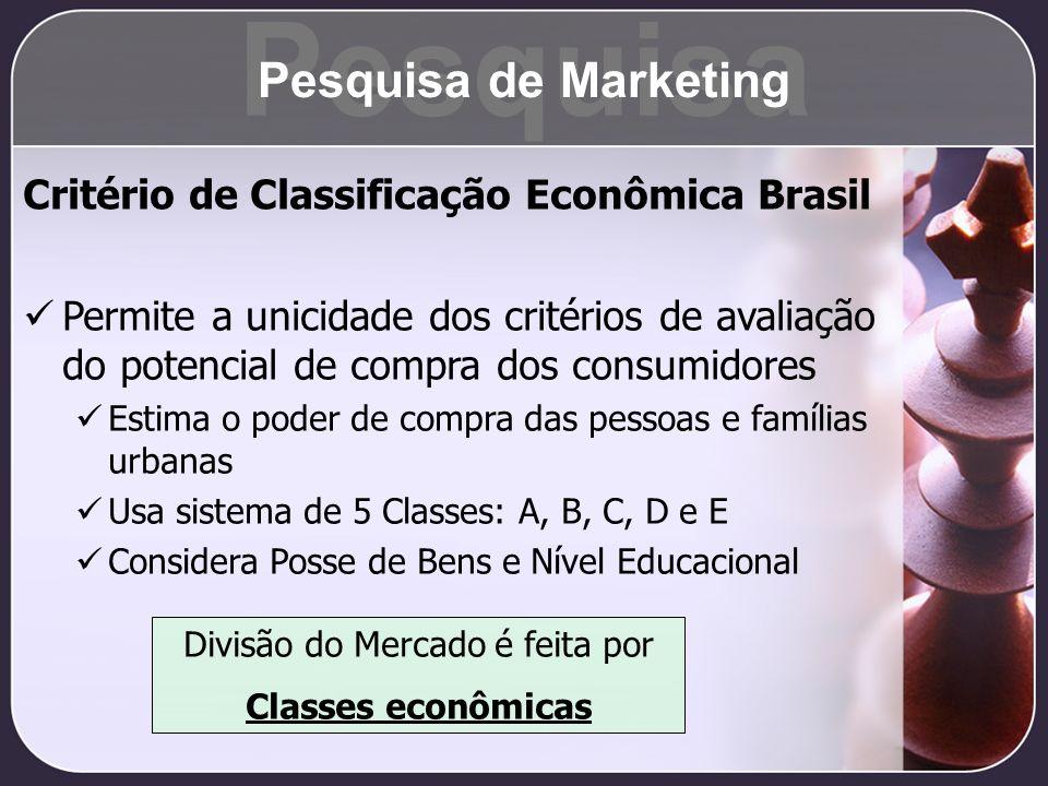 Critério de Classificação Econômica Brasil Permite a unicidade dos critérios de avaliação do potencial de compra dos consumidores Estima o poder de co