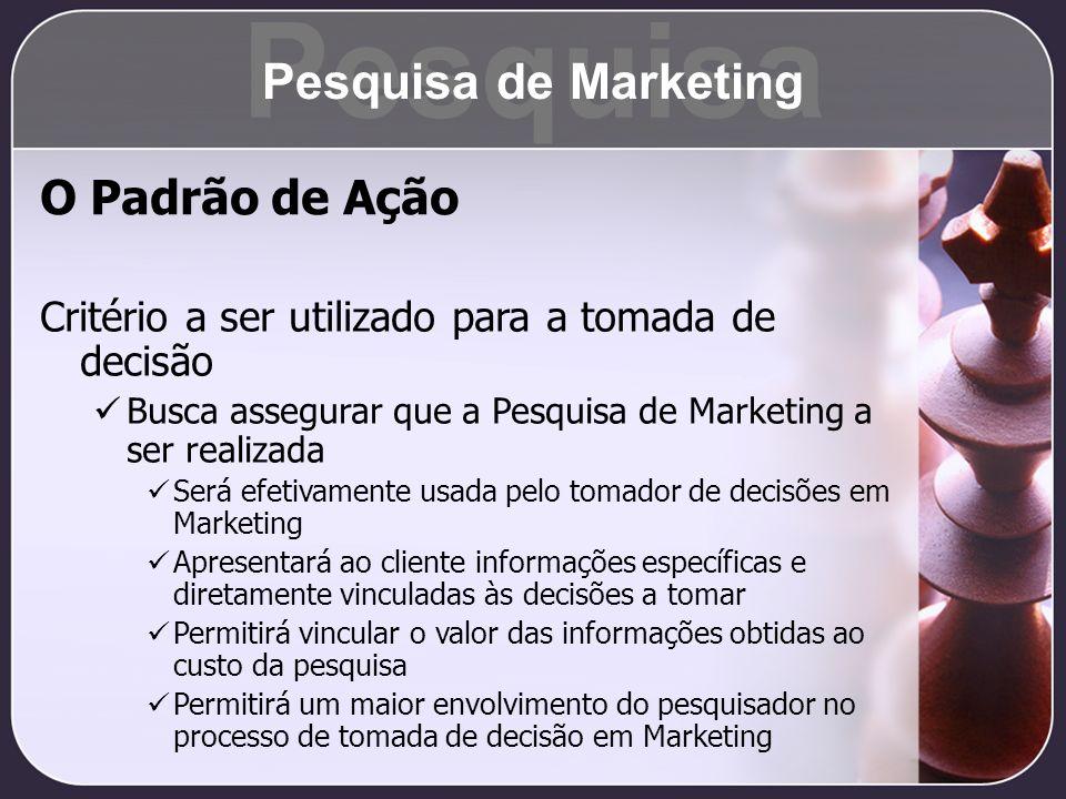 O Padrão de Ação Critério a ser utilizado para a tomada de decisão Busca assegurar que a Pesquisa de Marketing a ser realizada Será efetivamente usada