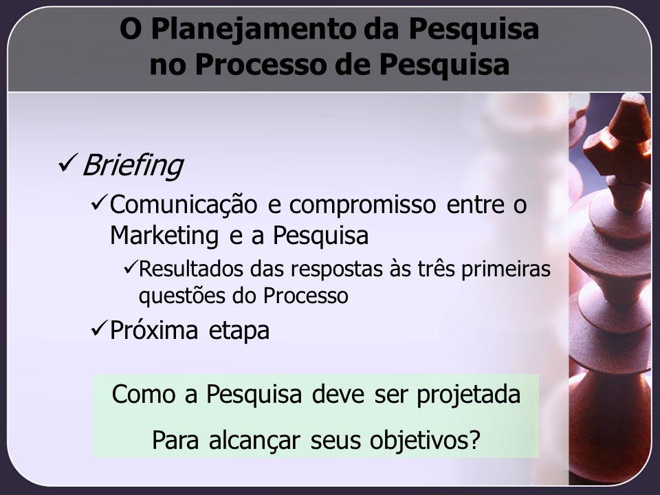 O Planejamento da Pesquisa no Processo de Pesquisa Briefing Comunicação e compromisso entre o Marketing e a Pesquisa Resultados das respostas às três