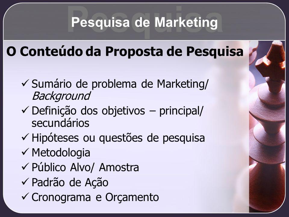 O Conteúdo da Proposta de Pesquisa Sumário de problema de Marketing/ Background Definição dos objetivos – principal/ secundários Hipóteses ou questões