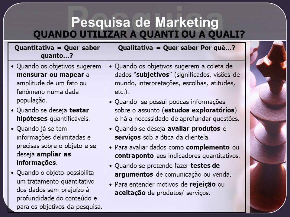 Pesquisa Pesquisa de Marketing QUANDO UTILIZAR A QUANTI OU A QUALI? Quantitativa = Quer saber quanto...? Qualitativa = Quer saber Por quê...? Quando o