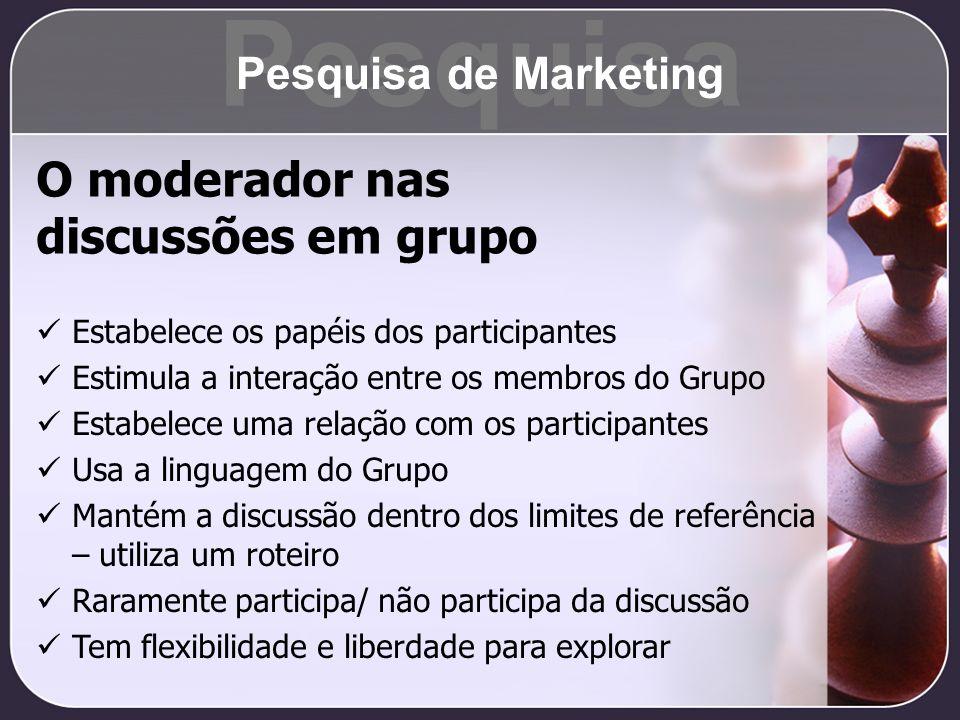 O moderador nas discussões em grupo Estabelece os papéis dos participantes Estimula a interação entre os membros do Grupo Estabelece uma relação com o