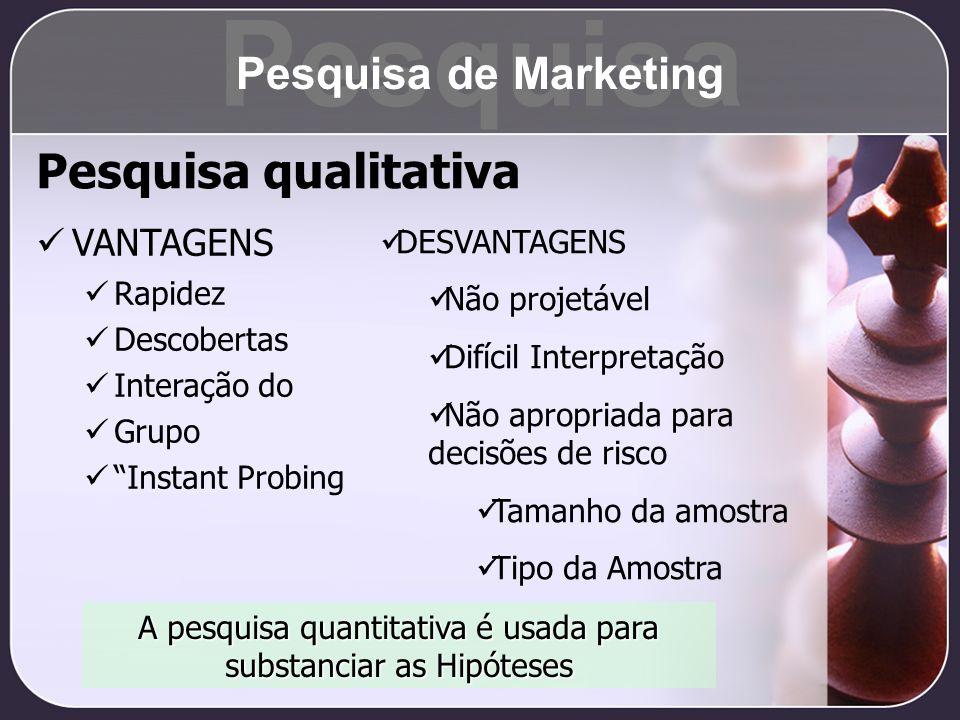 Pesquisa qualitativa VANTAGENS Rapidez Descobertas Interação do Grupo Instant Probing A pesquisa quantitativa é usada para substanciar as Hipóteses DE
