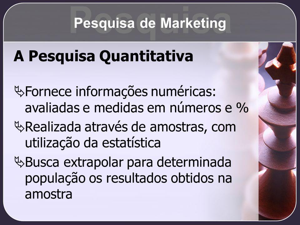 A Pesquisa Quantitativa Fornece informações numéricas: avaliadas e medidas em números e % Realizada através de amostras, com utilização da estatística