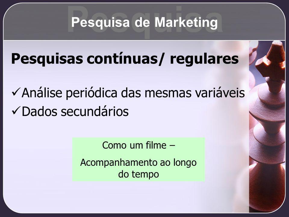 Pesquisas contínuas/ regulares Análise periódica das mesmas variáveis Dados secundários Como um filme – Acompanhamento ao longo do tempo Pesquisa Pesq