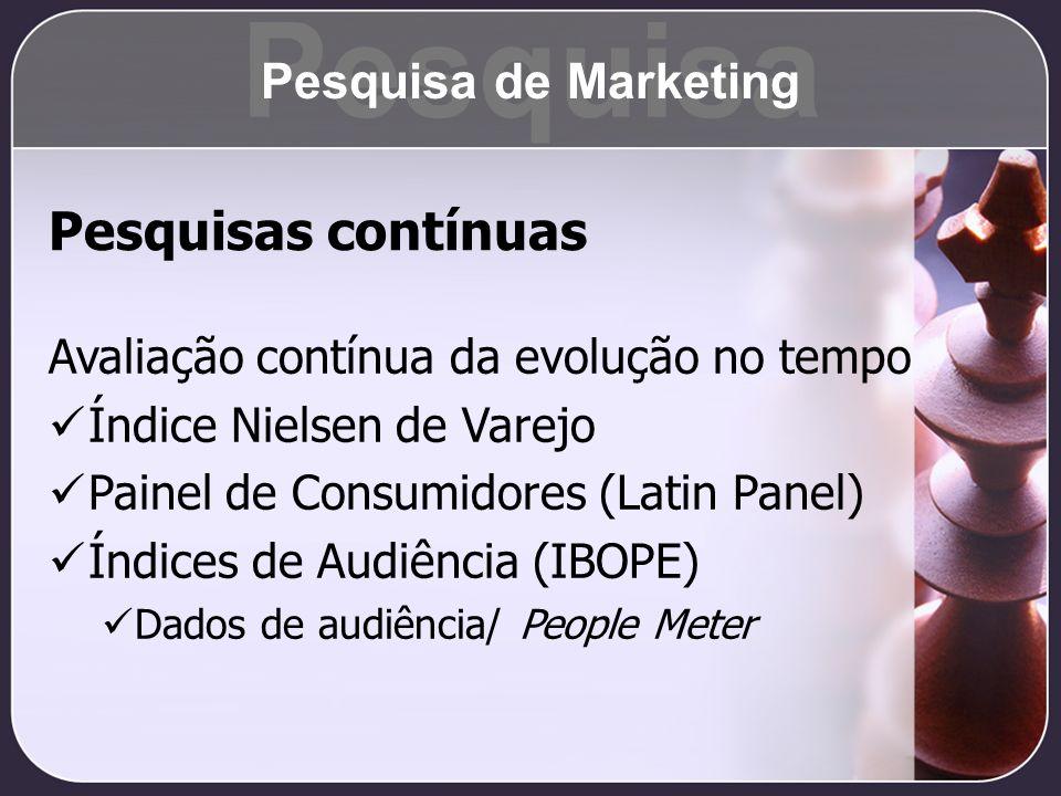 Pesquisas contínuas Avaliação contínua da evolução no tempo Índice Nielsen de Varejo Painel de Consumidores (Latin Panel) Índices de Audiência (IBOPE)