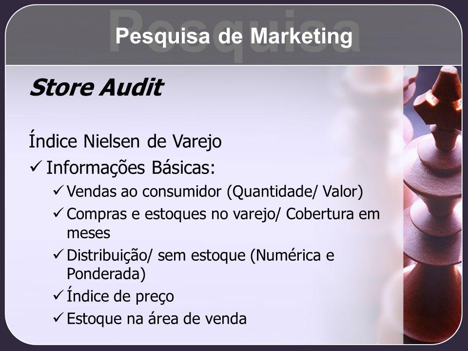 Store Audit Índice Nielsen de Varejo Informações Básicas: Vendas ao consumidor (Quantidade/ Valor) Compras e estoques no varejo/ Cobertura em meses Di