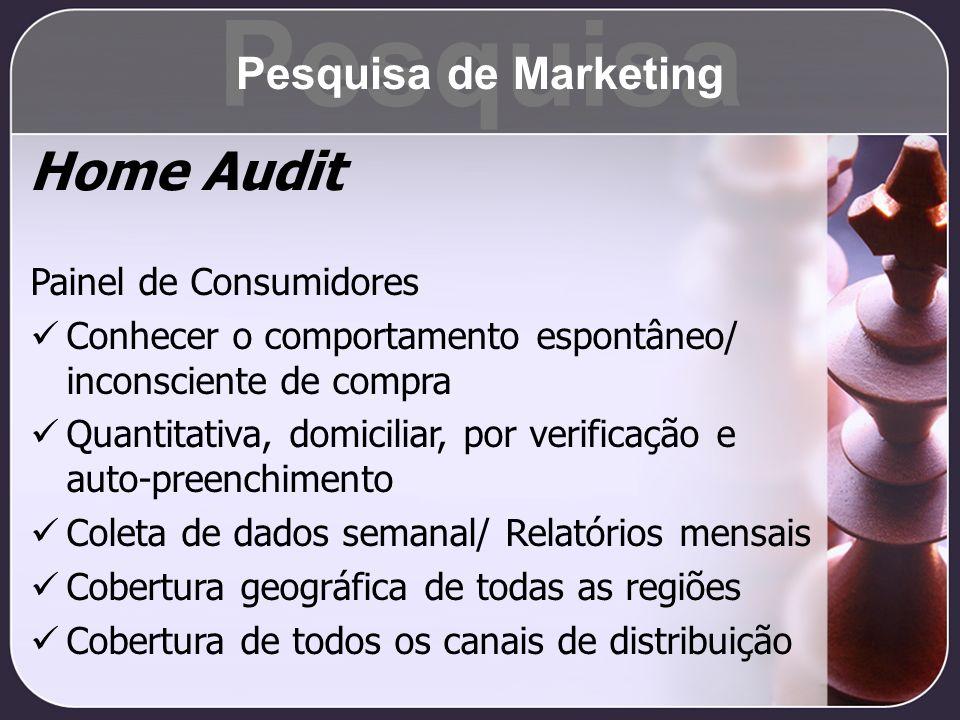 Home Audit Painel de Consumidores Conhecer o comportamento espontâneo/ inconsciente de compra Quantitativa, domiciliar, por verificação e auto-preench