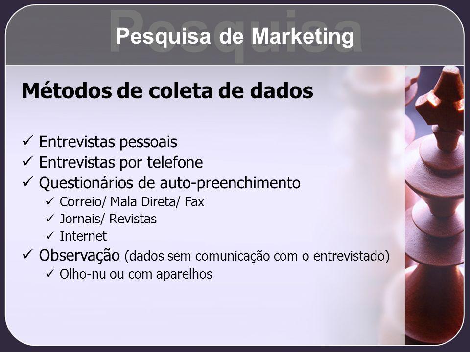 Métodos de coleta de dados Entrevistas pessoais Entrevistas por telefone Questionários de auto-preenchimento Correio/ Mala Direta/ Fax Jornais/ Revist